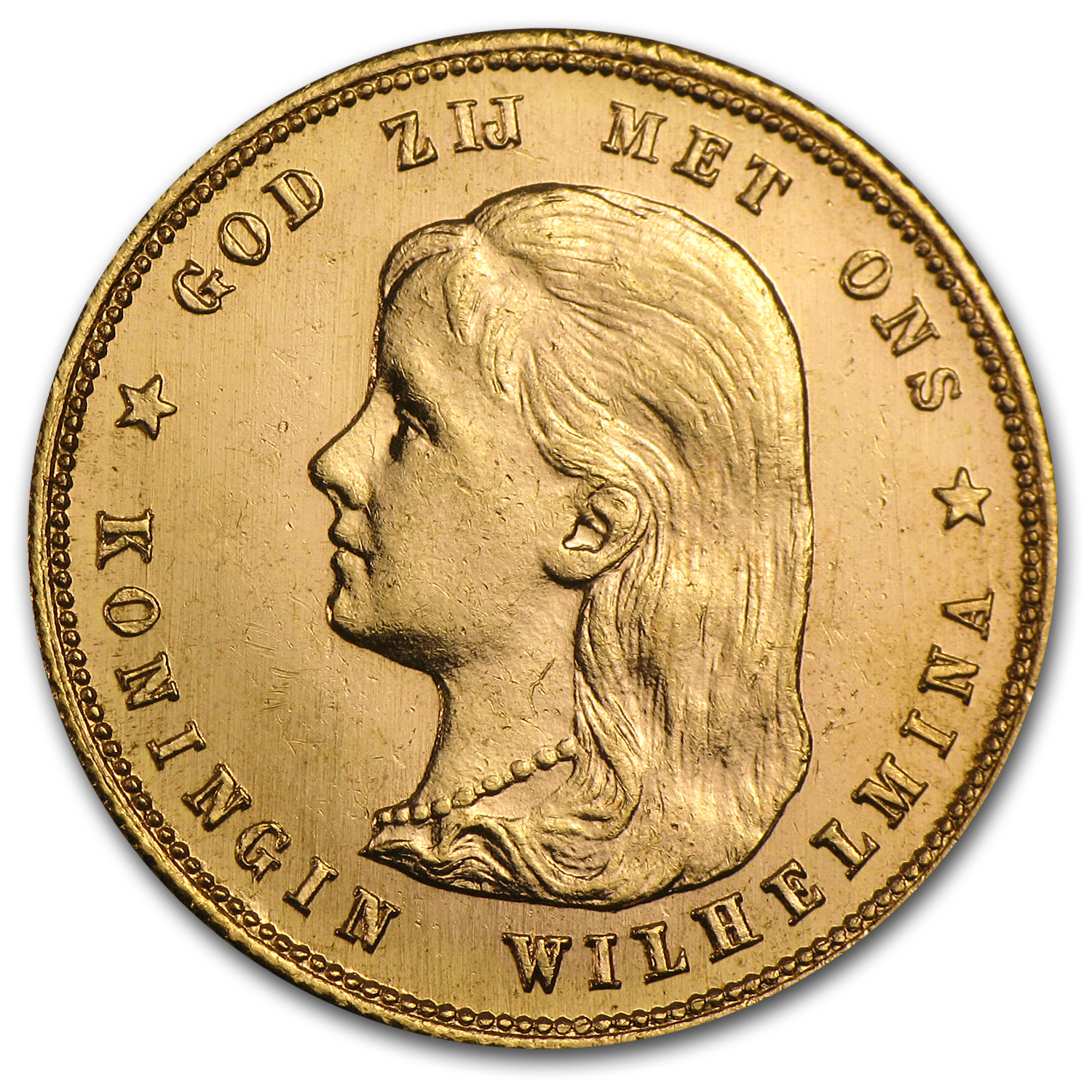 1897 Netherlands Gold 10 Guilder Wilhelmina Flowing Hair AU
