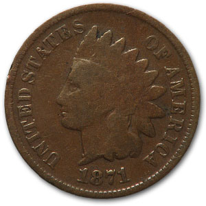 1871 Indian Head Cent Fine Details - Minor Corrosion