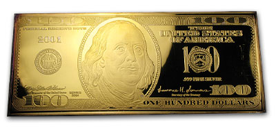 4 Oz Silver Bar 100 Bill Gold Plated All Other