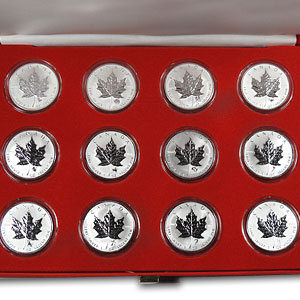 2004 12-Coin Silver Maple Leaf Western Zodiac Privy (w/Box & COA)
