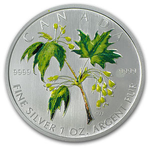 2003 1oz Silver Canadian Maple Leaf - Spring Colors (W/Box & COA)