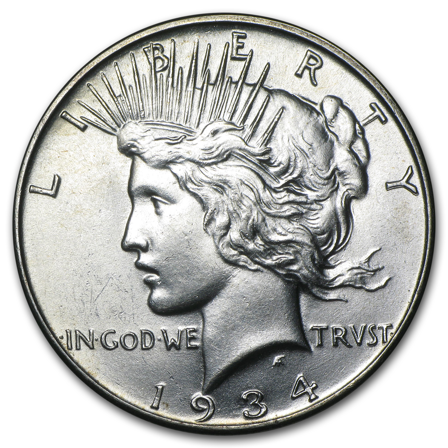 1934 Peace Dollar - Almost Uncirculated-58
