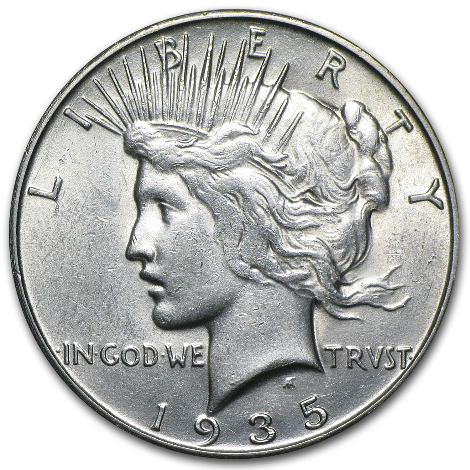 1935-S Peace Dollar - Almost Uncirculated-58