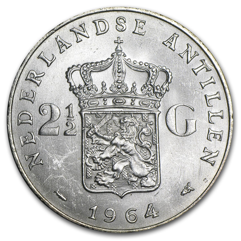 1964 Netherlands Antilles Silver 2 1 2 Gulden Bu Silver