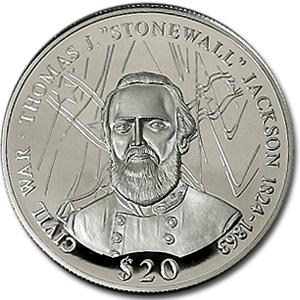 2000 Liberia Silver 20 Gen Stonewall Jackson Proof