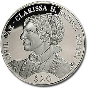 2000 Liberia Silver 20 Clara Barton Proof Silver