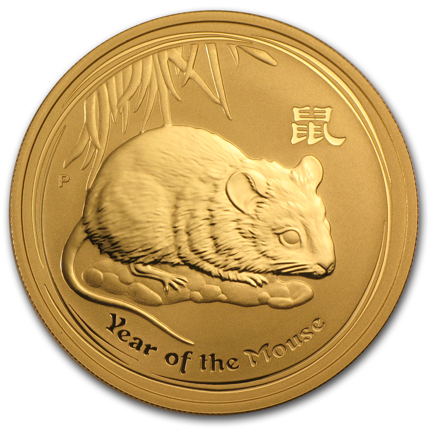 2008 1 oz Gold Lunar Year of the Mouse BU (Series II)