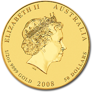 2008 Australia 1/2 oz Gold Lunar Mouse BU (Series II)