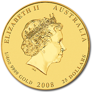 2008 Australia 1/4 oz Gold Lunar Mouse BU (Series II)