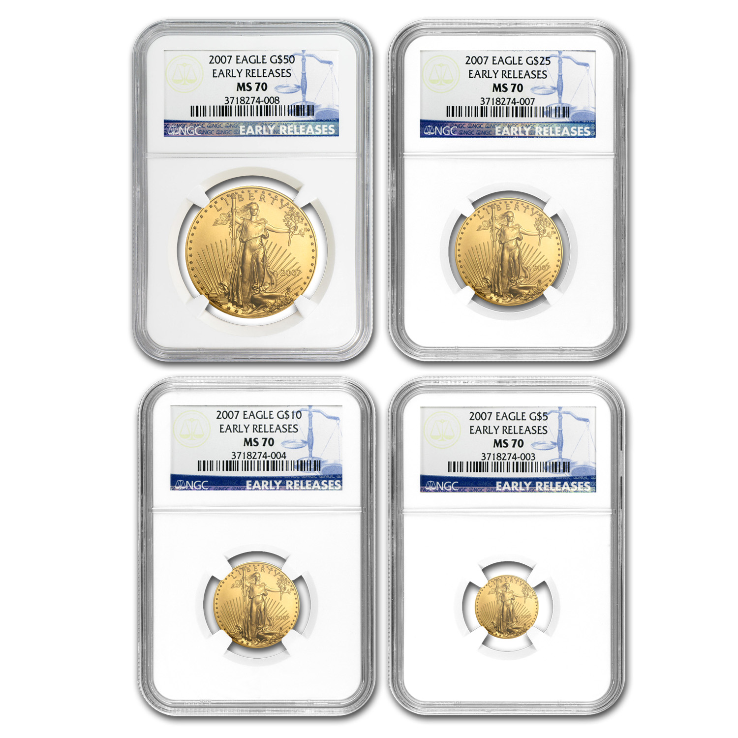2007 4-Coin Gold American Eagle Set MS-70 NGC (ER)