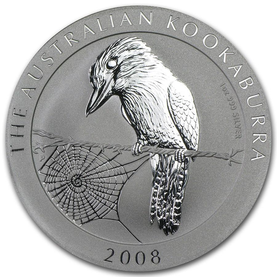 2008 Australia 1 Oz Silver Kookaburra Bu Perth Mint