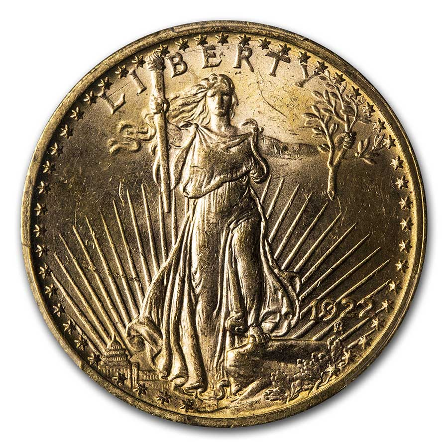 1922 $20 St. Gaudens Gold Double Eagle MS-63 PCGS
