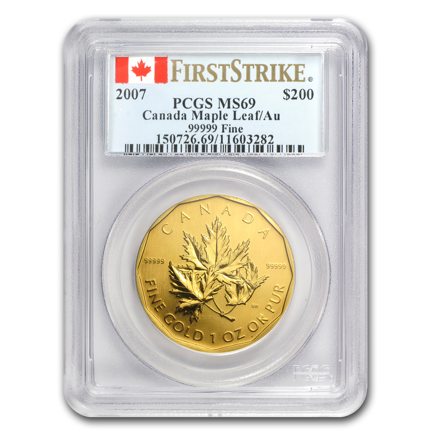 2007 Canada 1 oz Gold Maple Leaf .99999 MS-69 PCGS (FS)