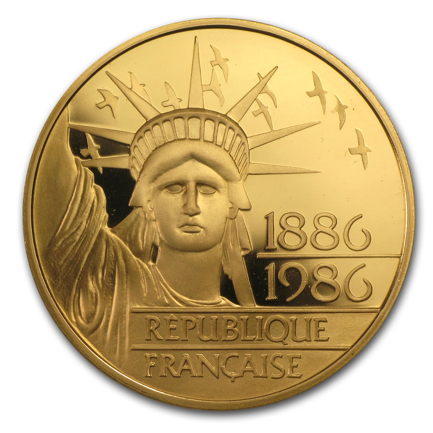 1986 France Proof Gold 100 Francs Statue of Liberty