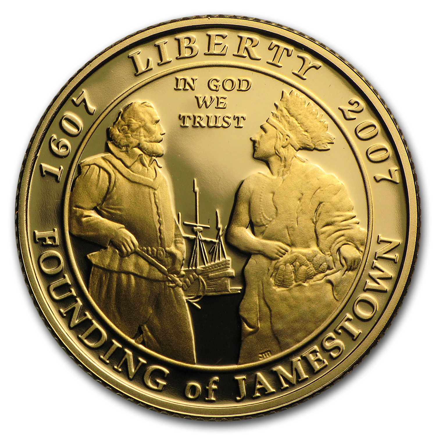 2007-W Gold $5 Commem Jamestown Proof (w/Box & COA)