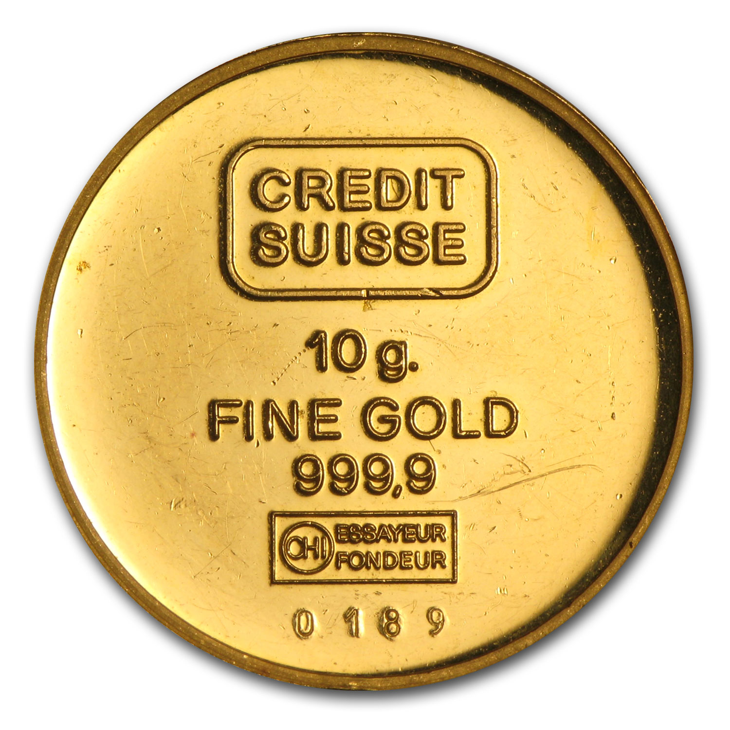 10 gram Gold Round - Credit Suisse Virgin Islands