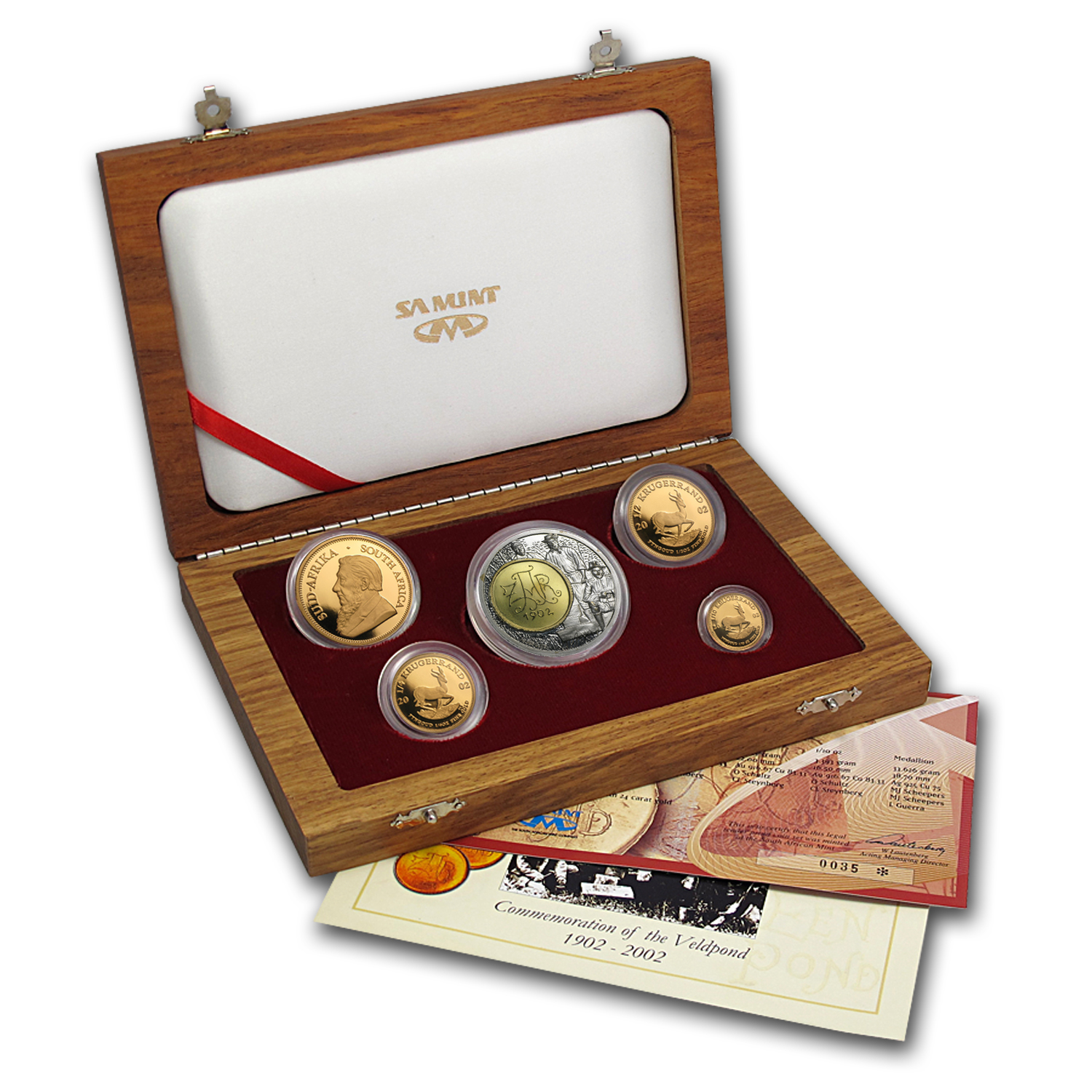 2002 South Africa 5-Coin Gold Krugerrand Proof Set