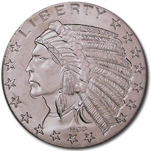1 oz Silver Round - $5.00 Indian Half Eagle (Replica)
