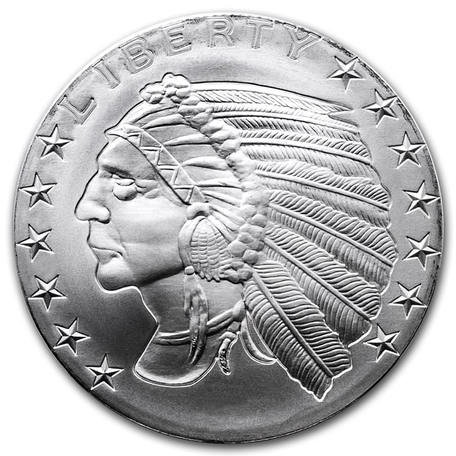 1 oz Silver Round - Incuse Indian (GSM)