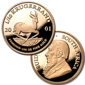 2001 5-Coin Gold South African Krugerrand Proof Set (w/Box & CoA)