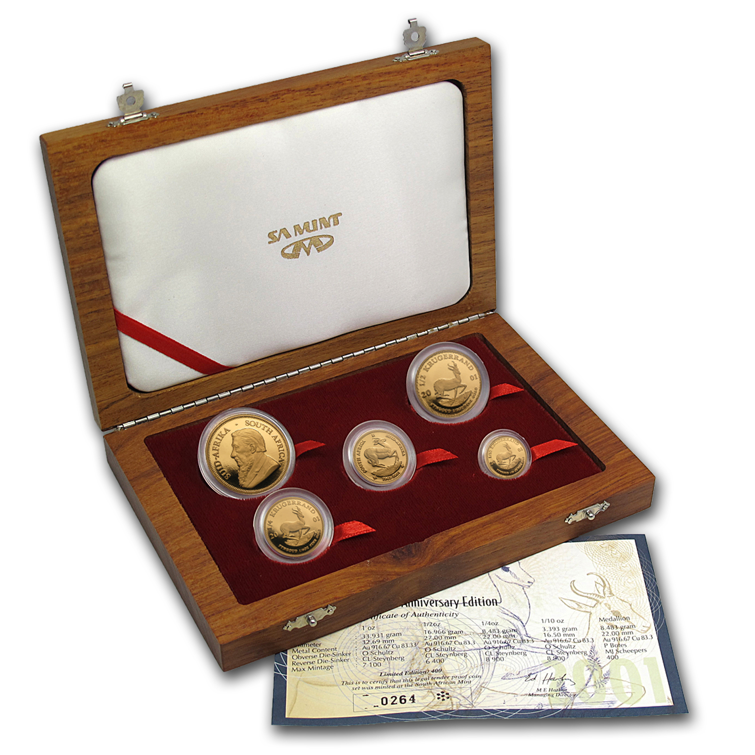 2001 South Africa 5-Coin Gold Krugerrand Proof Set (w/Box & COA)
