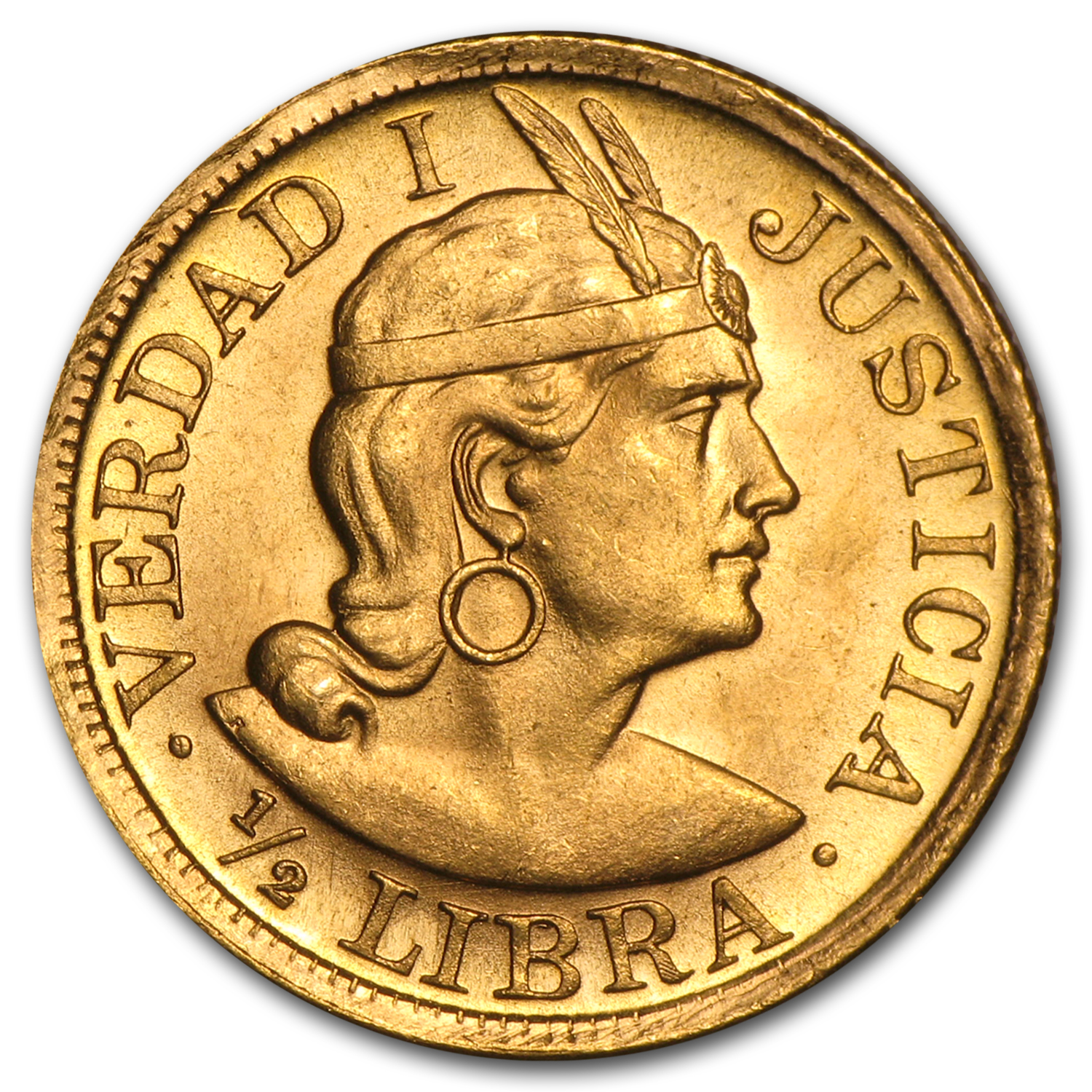 Peru Gold 1/2 Libra AU or Better (AGW 0.1177, Random)