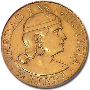 Peru 1/2 Libra Gold AU or Better AGW 0.1177