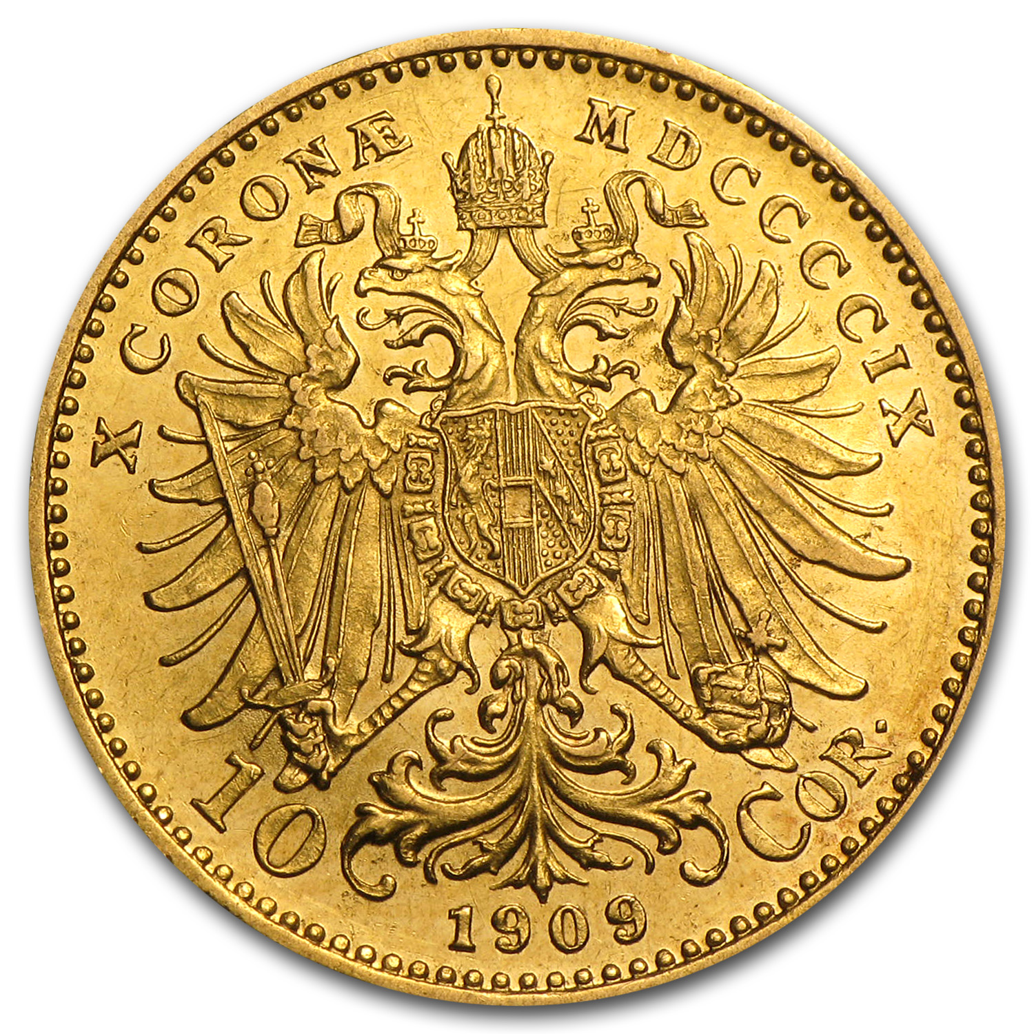 1909 Austria Gold 10 Corona XF or Better