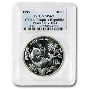 1995 China 1 oz Silver Panda MS-69 PCGS (Large Date & Twig)