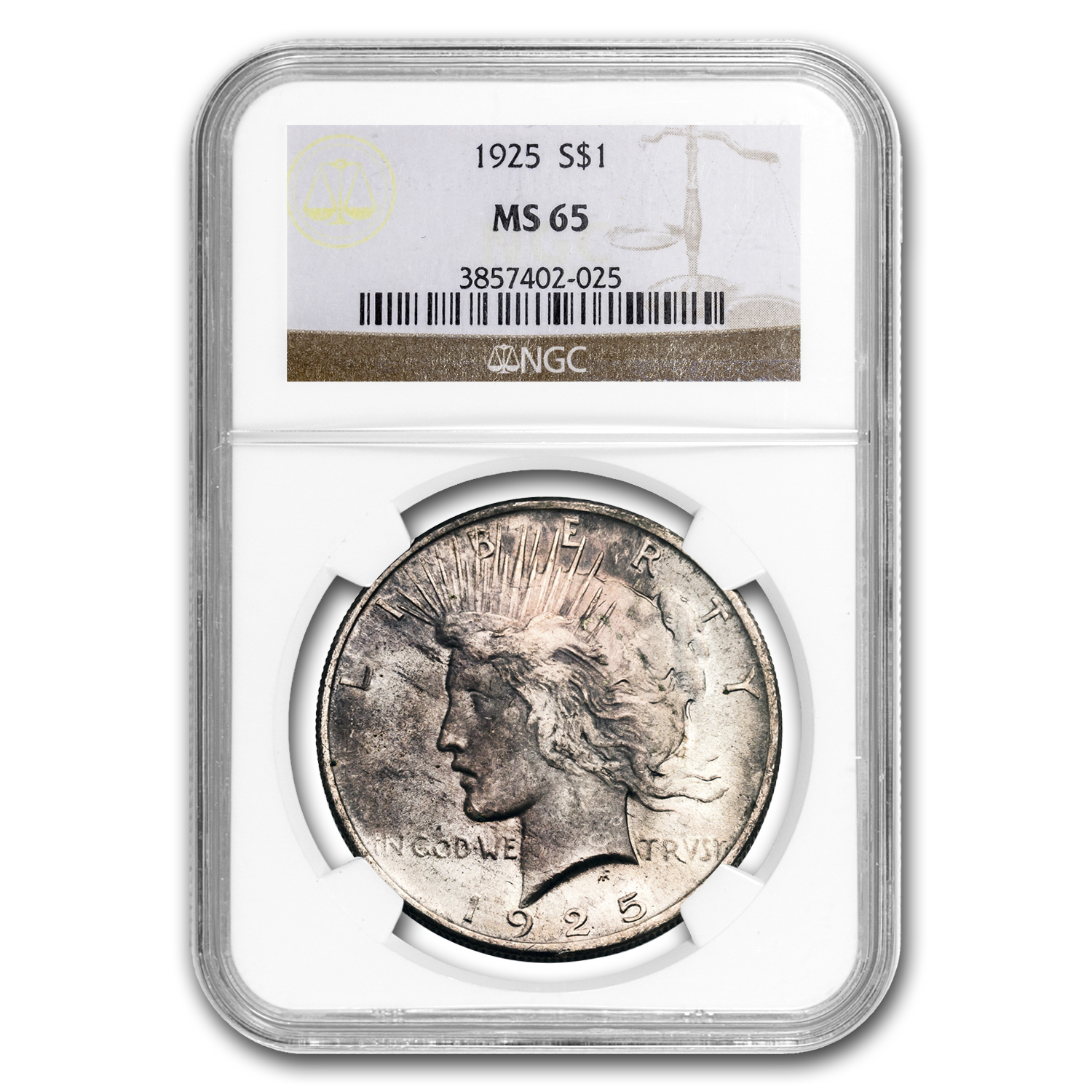 1925 Peace Dollar MS-65 NGC (Toning)