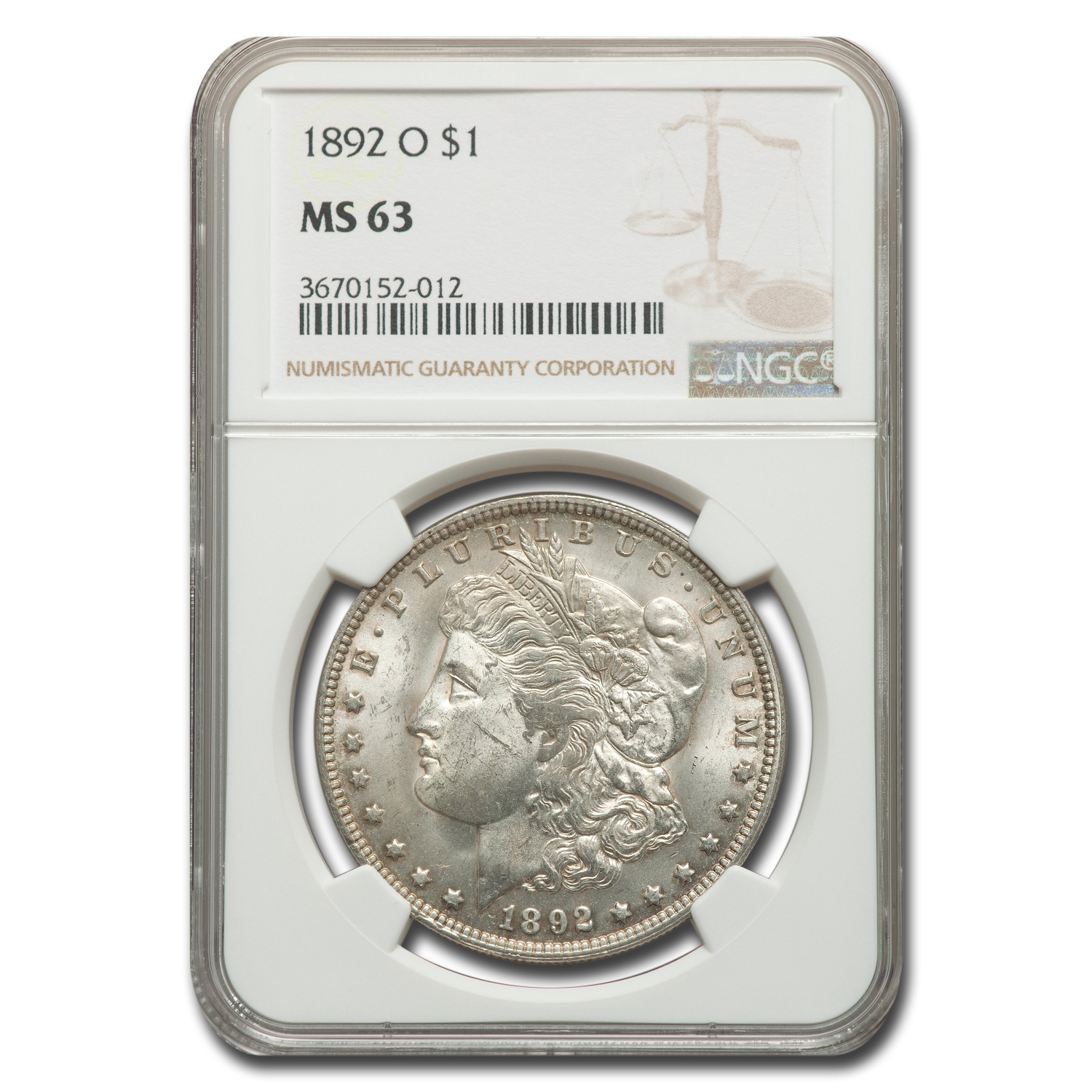 1892-O Morgan Dollar MS-63 NGC