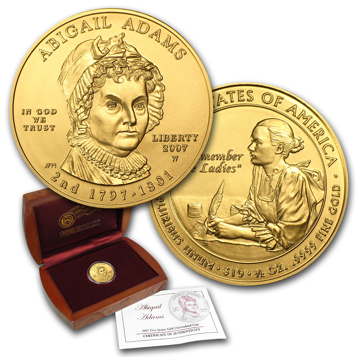2007-W 1/2 oz Uncirculated Gold Abigail Adams (w/Box & CoA)
