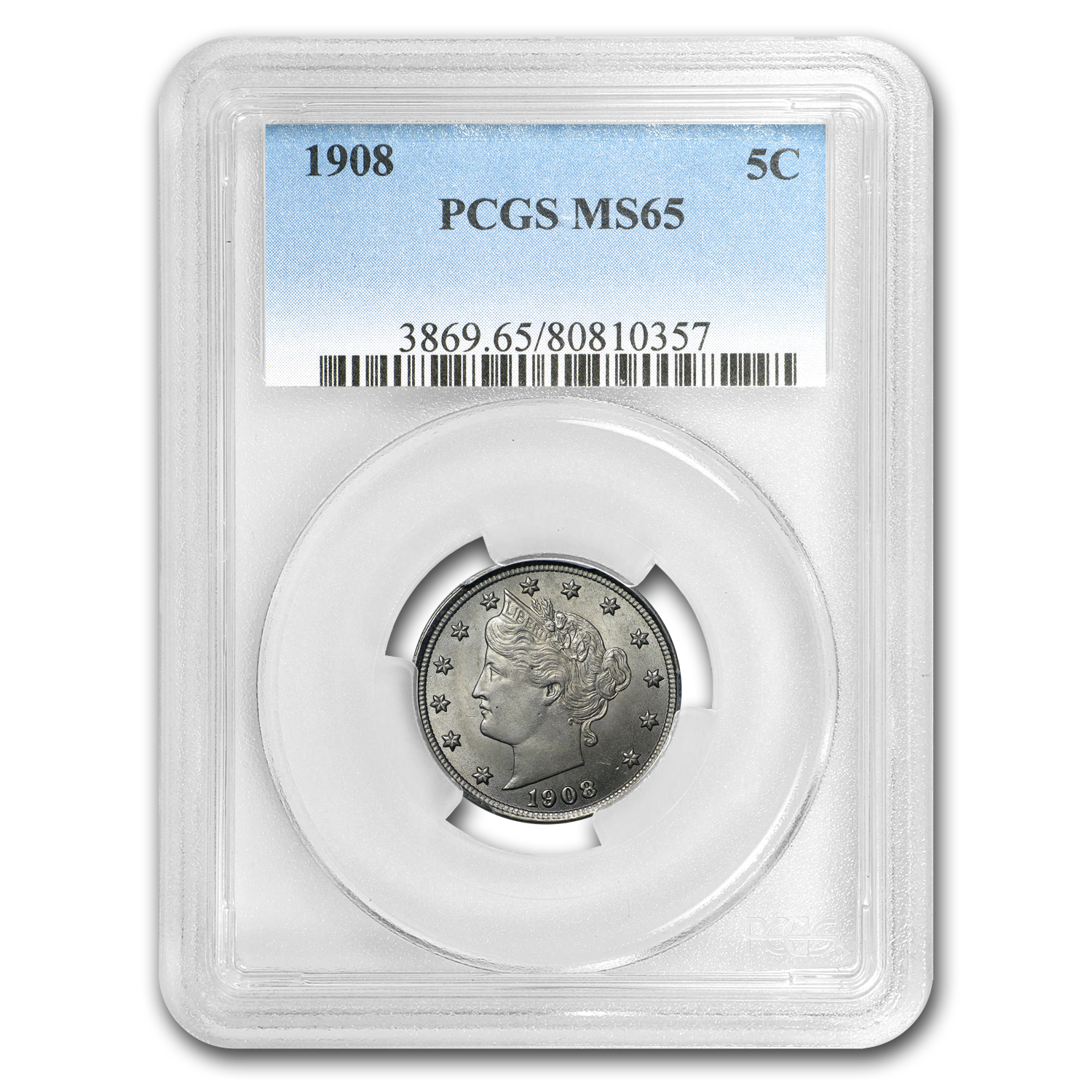 1908 Liberty Head V Nickel MS-65 PCGS