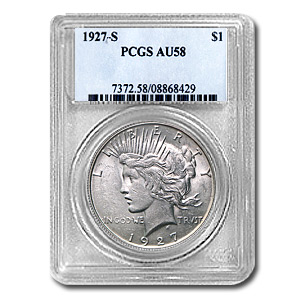 1927-S Peace Dollar Almost Uncirculated-58 PCGS