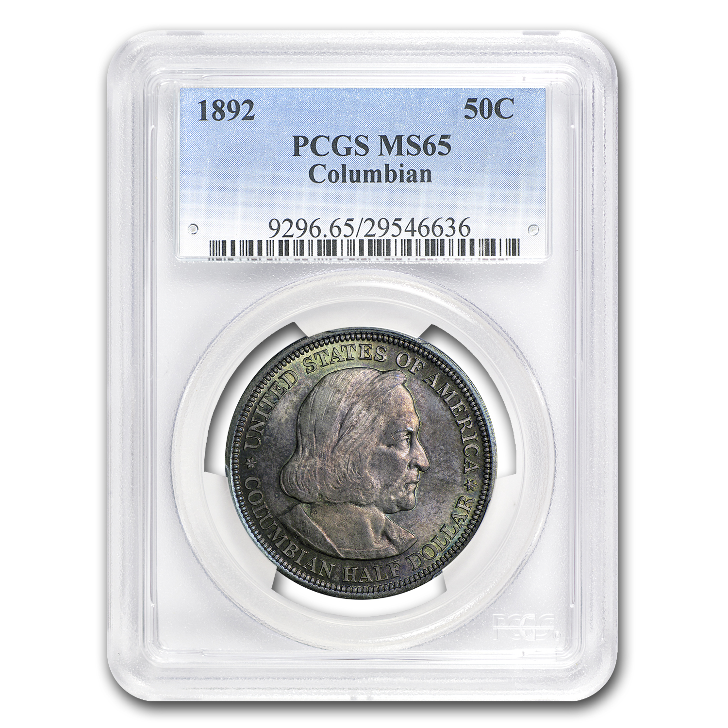 1892 Columbian MS-65 PCGS (Rainbow Toned)