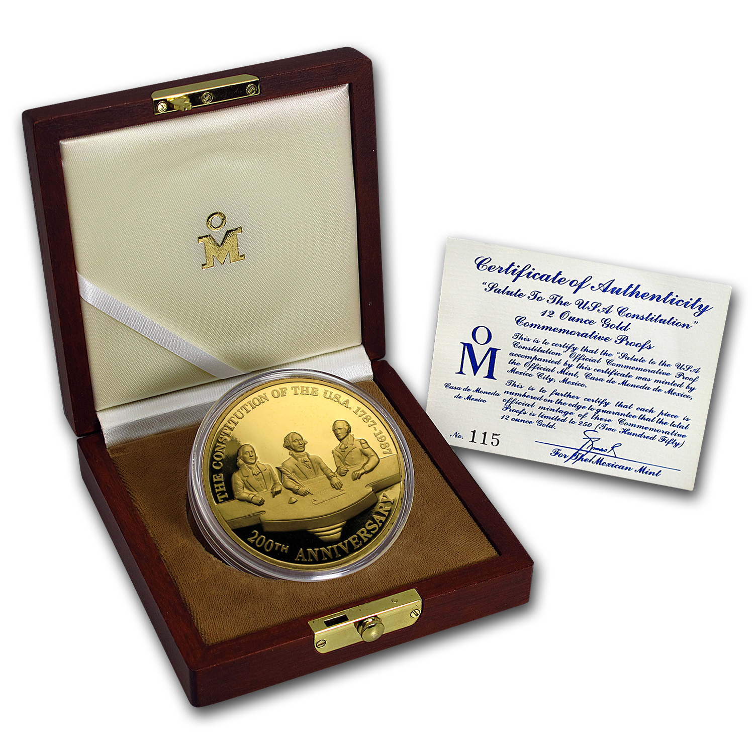 1987 Mexico 12 oz Gold Salute to the USA Constitution Proof
