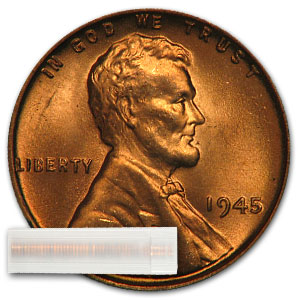 1945 Lincoln Cent 50-Coin Roll BU