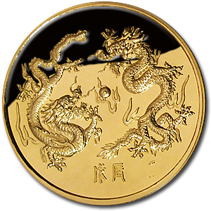 1988 Singapore 5 oz Proof Gold Singold Dragon