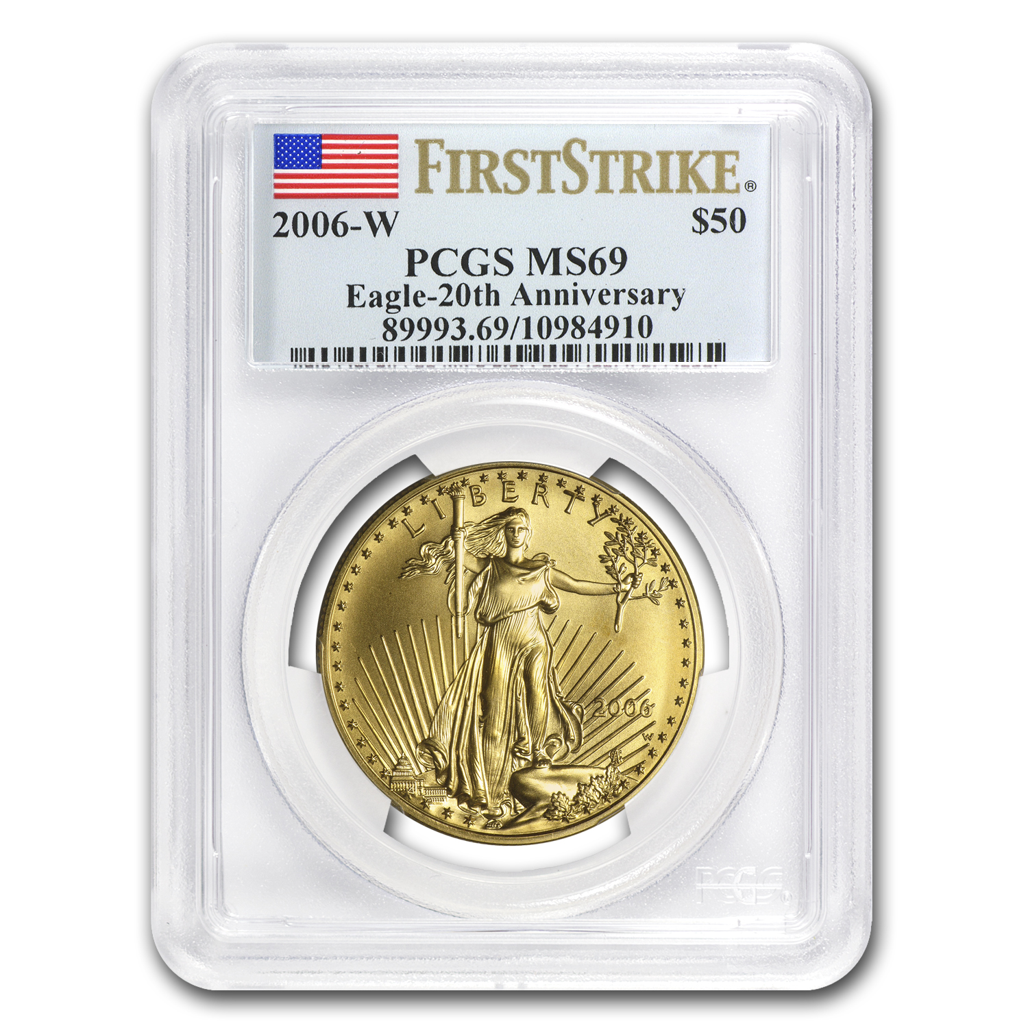 2006-W 1 oz Burnished Gold Eagle MS-69 PCGS (FS, 20th Anniv)