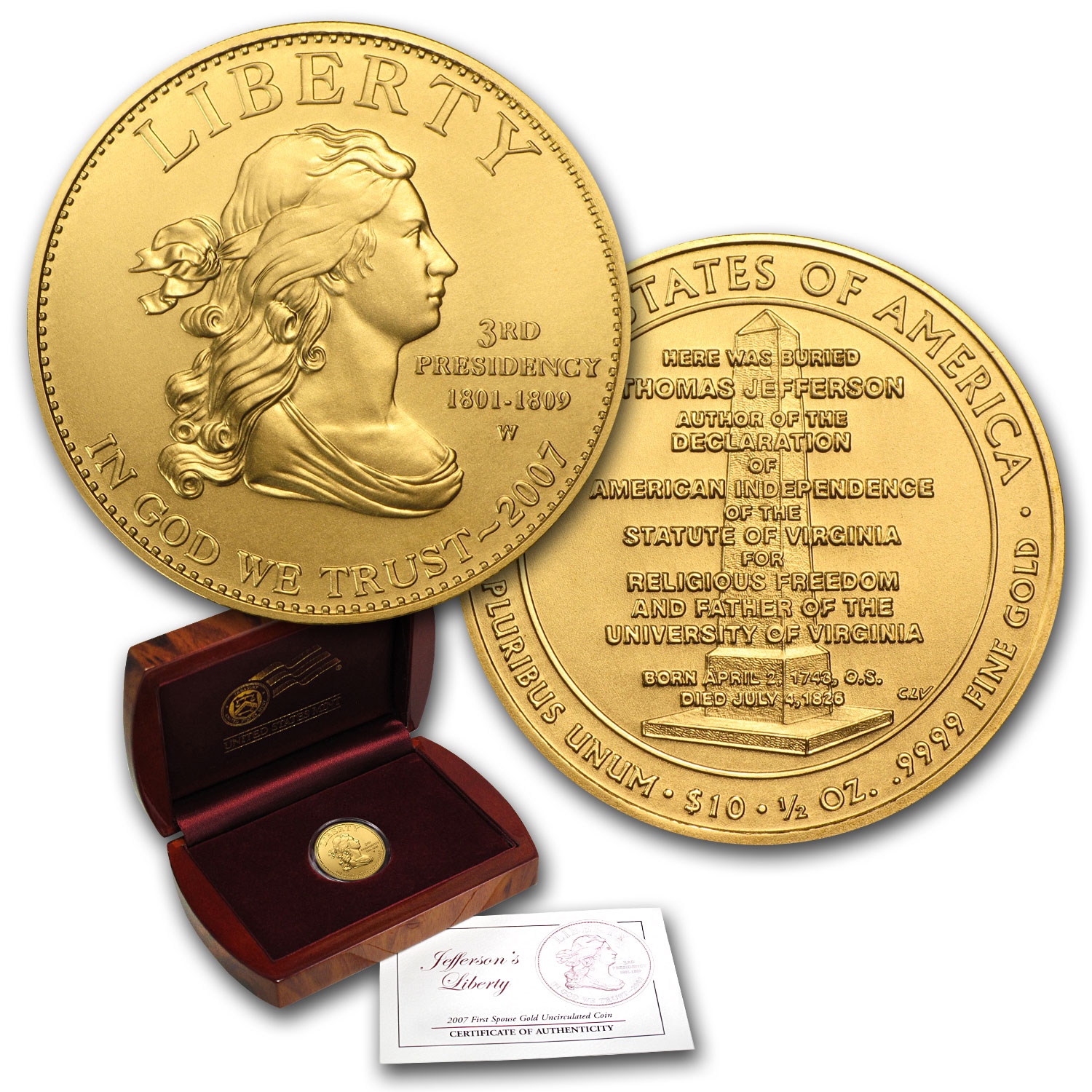 2007-W 1/2 oz Gold Jefferson's Liberty BU (w/Box & COA)