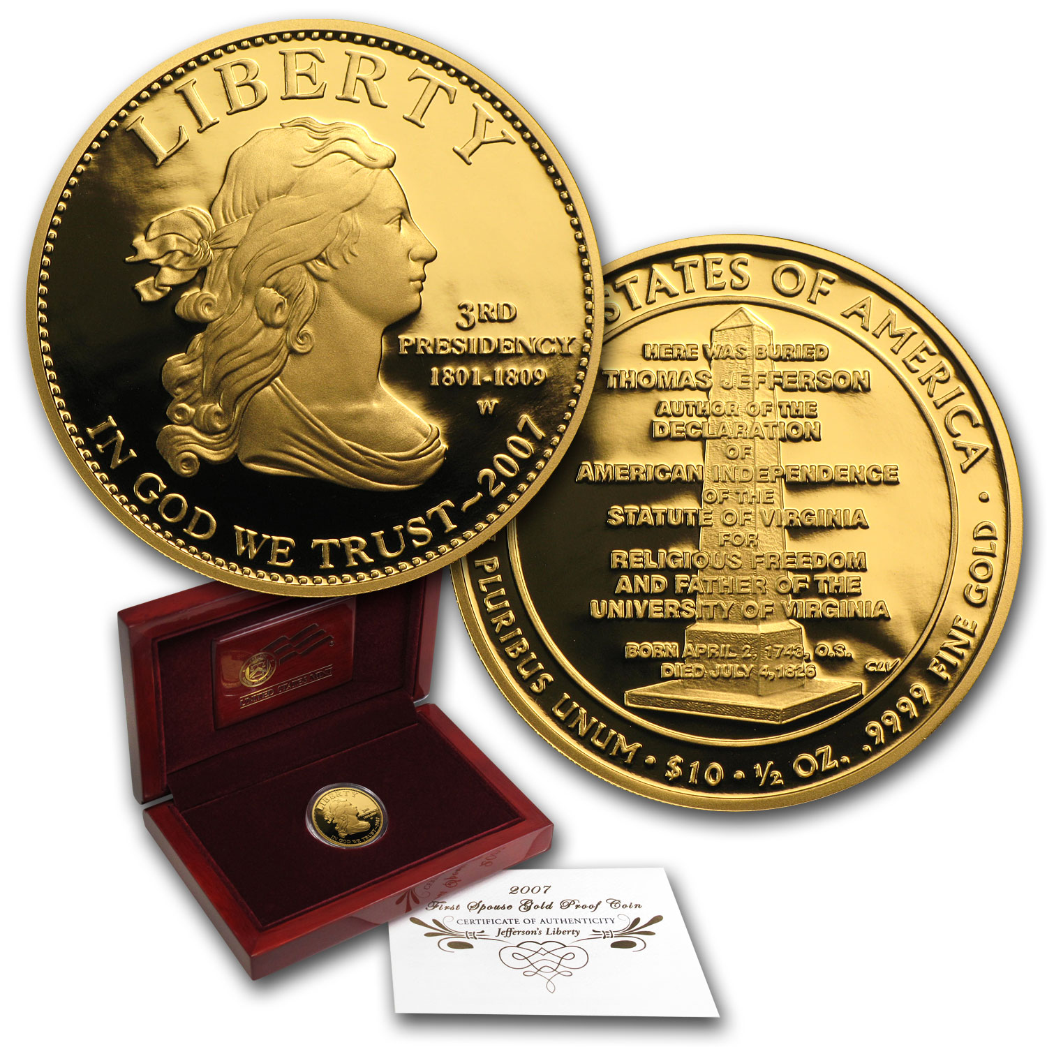 2007-W 1/2 oz Proof Gold Jefferson's Liberty (w/Box & COA)