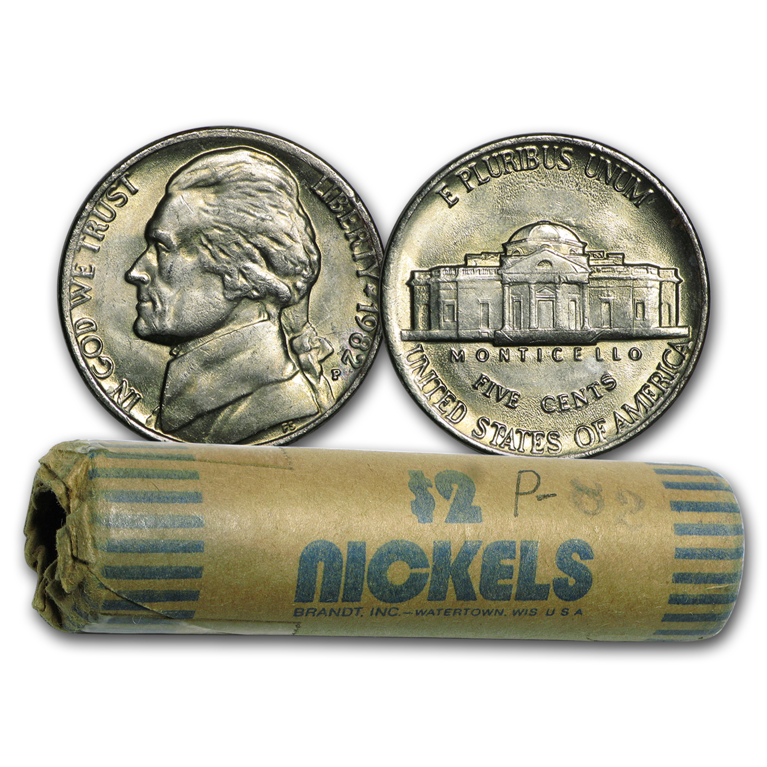 1982-P Jefferson Nickel 40-Coin Roll BU