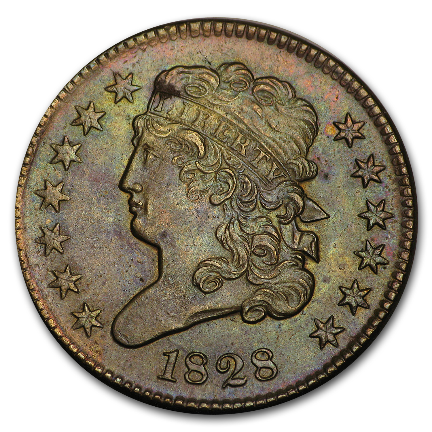 1828 Half Cent 13 Stars MS-63 (Brown)