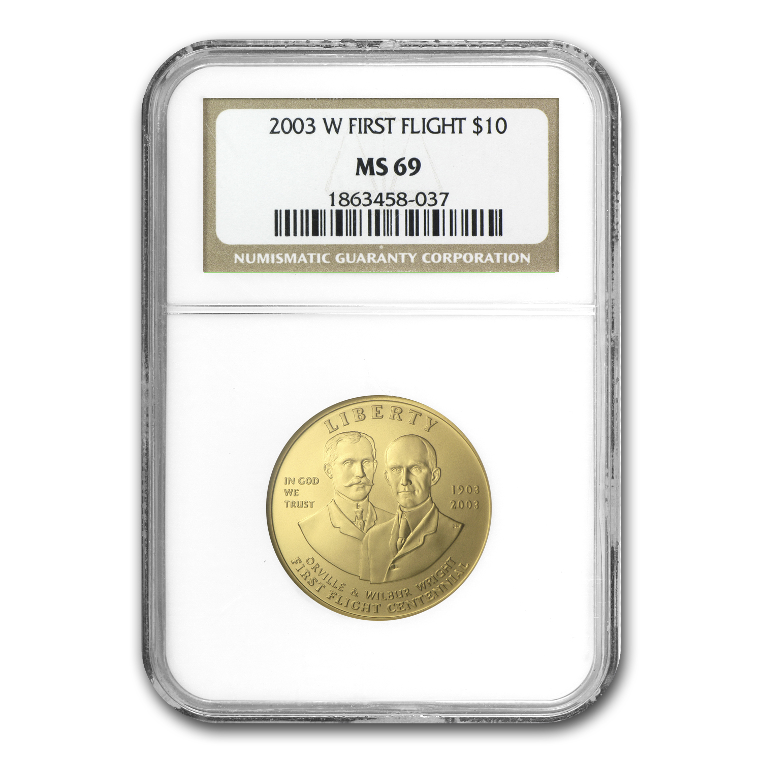 2003-W First Flight Centennial - $10 Gold Commem - MS-69 NGC
