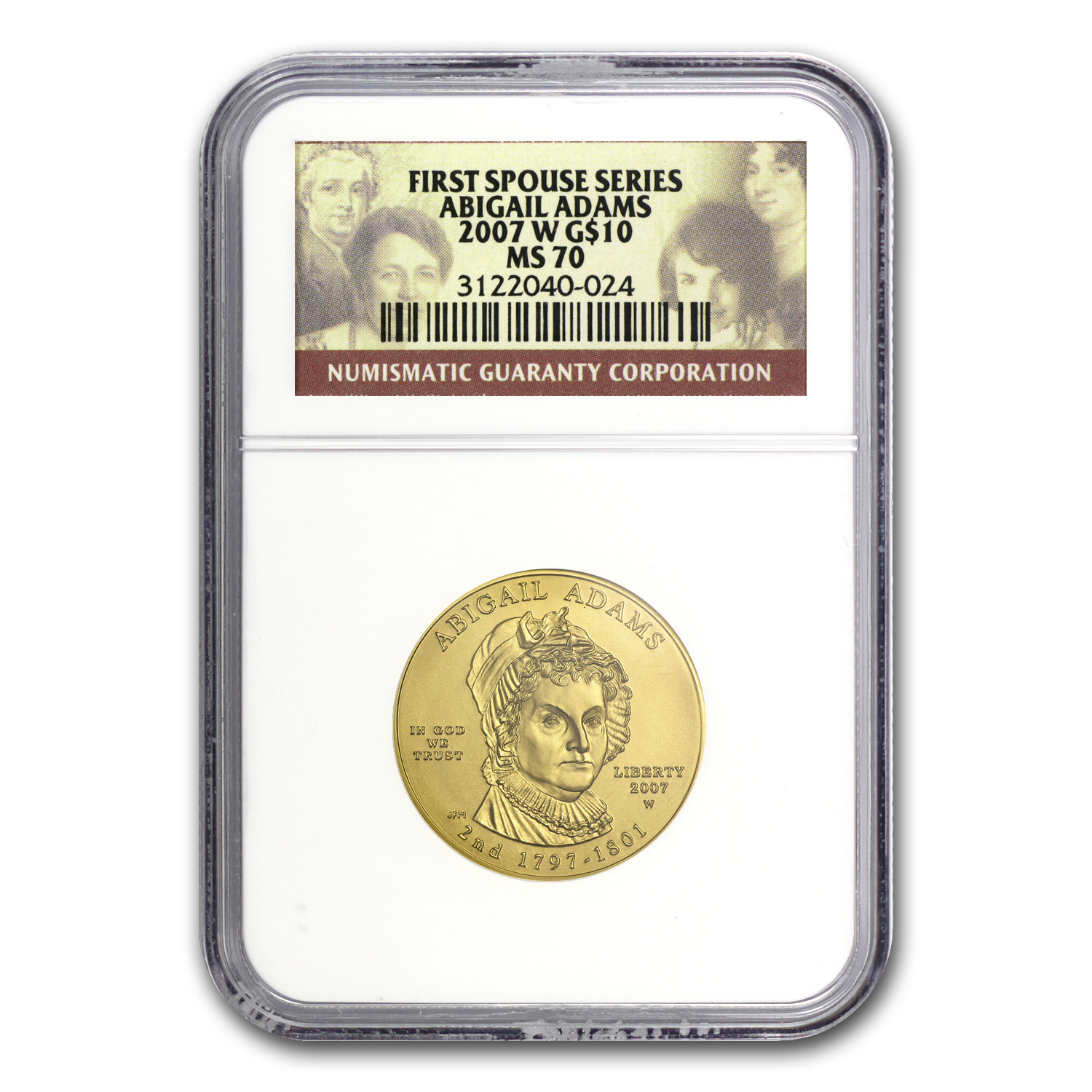 2007-W 1/2 oz Gold Abigail Adams MS-70 NGC