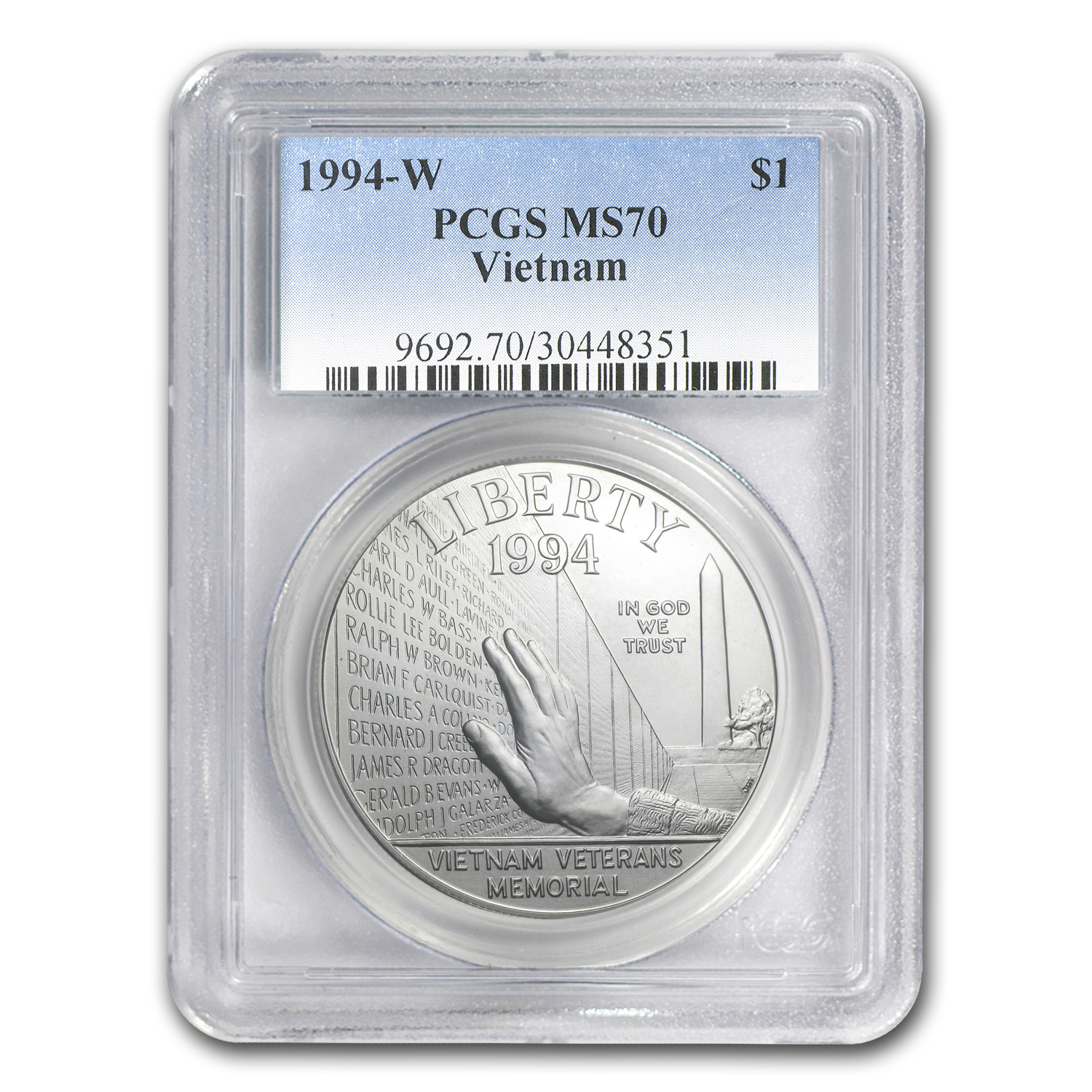 1994-W Vietnam Veterans Memorial $1 Silver Commem MS-70 PCGS