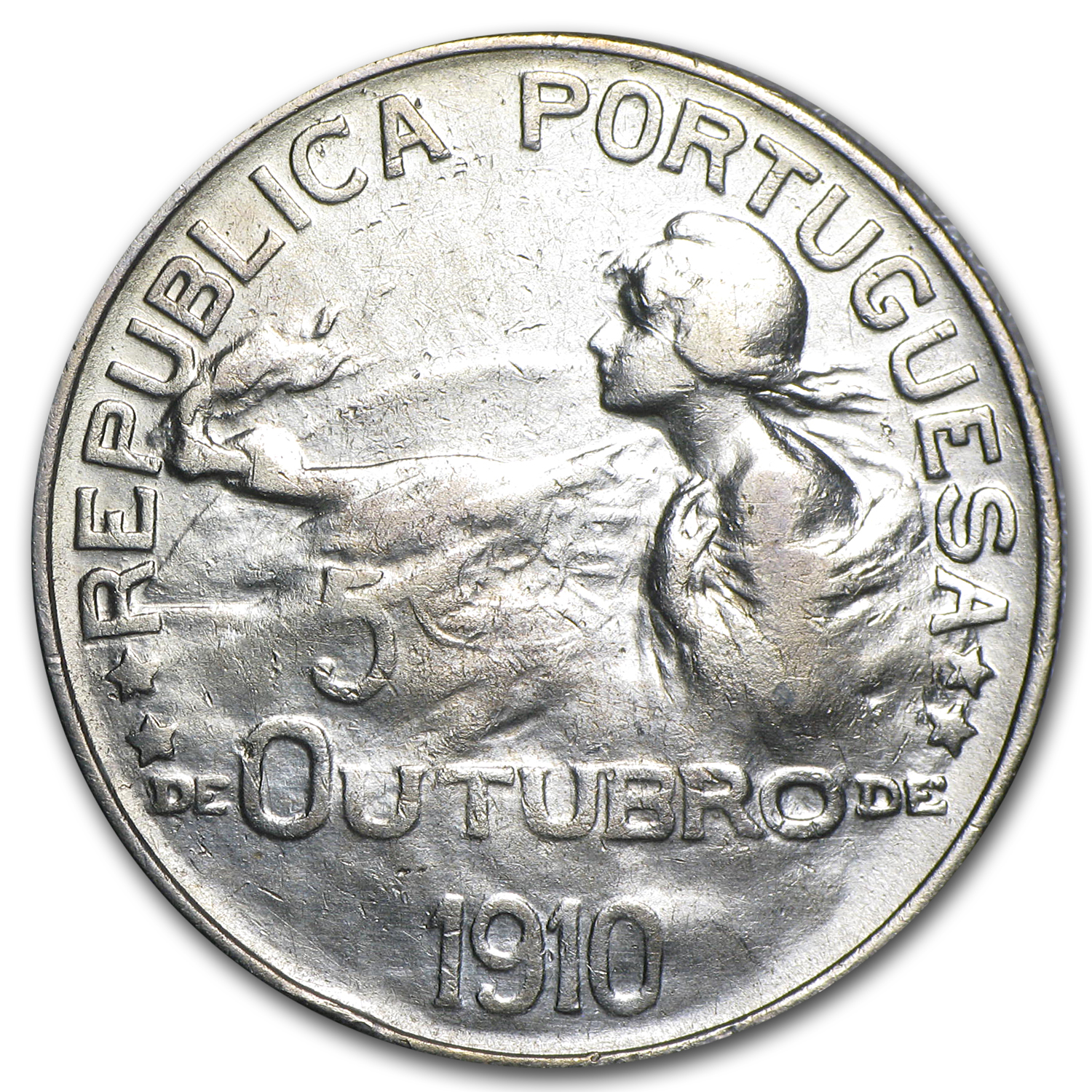 Portugal 1910 Silver Escudo Birth of the Republic EF+