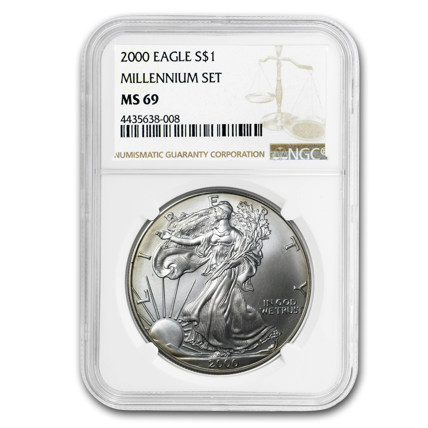2000 Silver American Eagle MS-69 NGC (Millennium)