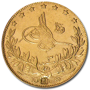 Turkey AH1327 Gold 100 Kurush Average Circulated