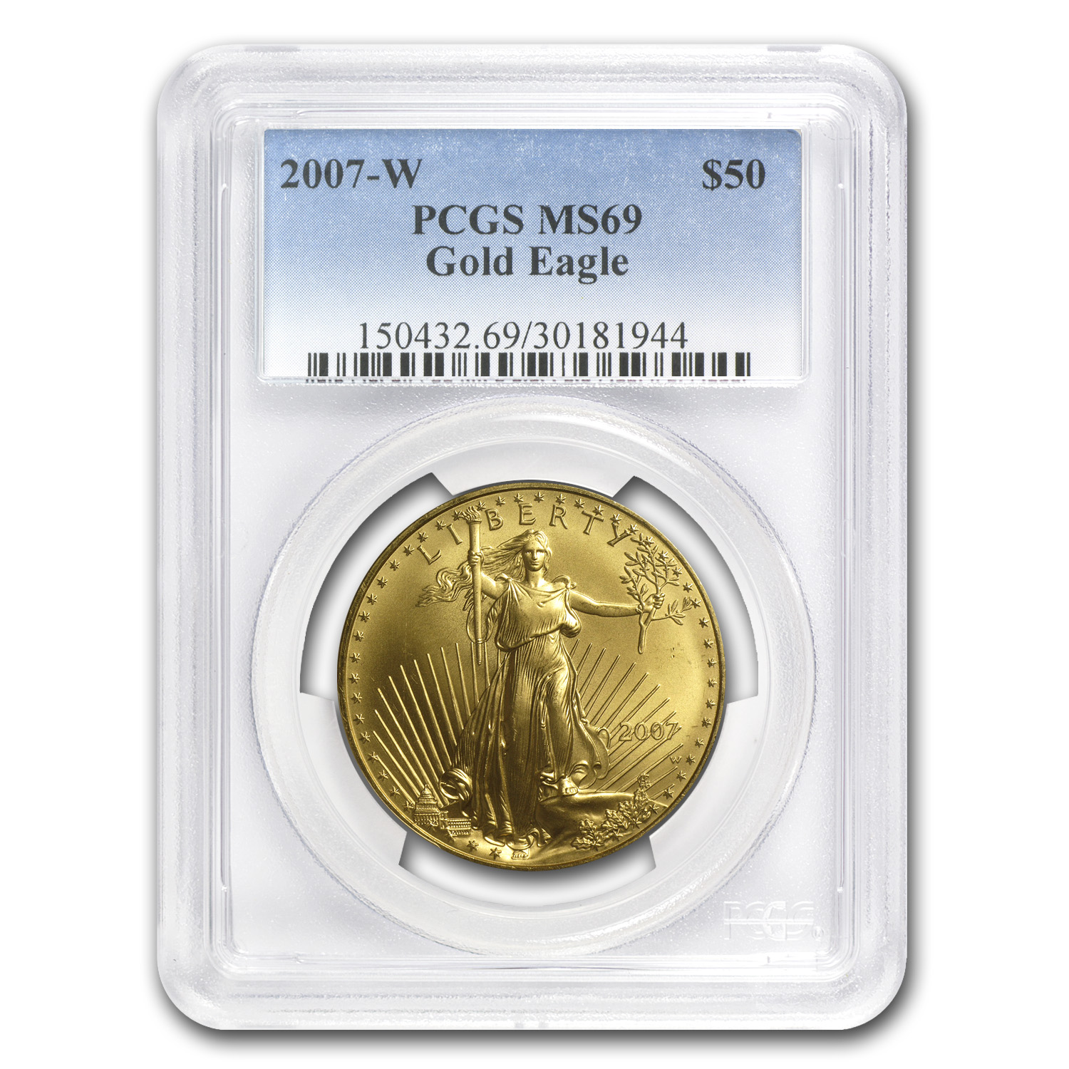 2007-W 1 oz Burnished Gold Eagle MS-69 PCGS